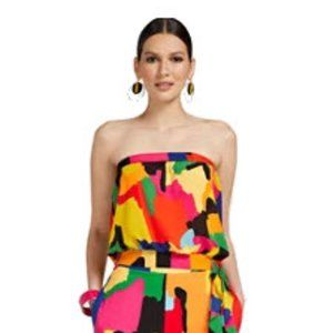 Abstract Strapless Top with Side Tie